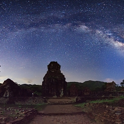 The Milky Way shines above acient ruin...